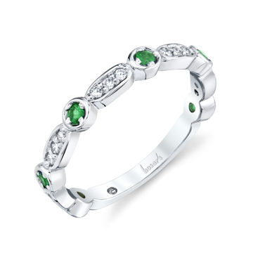 14kt White Gold Natural Emerald and Diamond Stackable Band