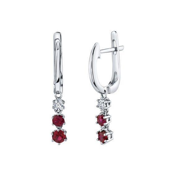 14kt White Gold Natural Ruby and Diamond Drop Hoop Earrings