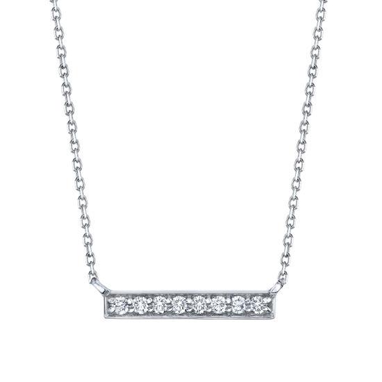 14kt White Gold Diamond Bar Necklace
