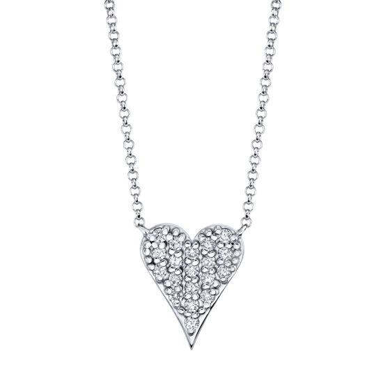 14kt White Gold Pave Set Diamond Heart Necklace