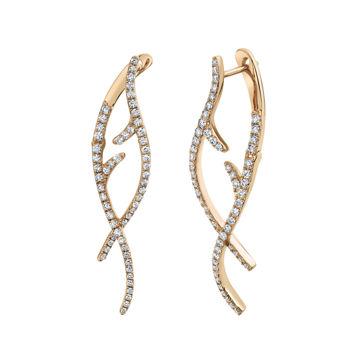 14kt Rose Gold Weaving Diamond Vine Earrings