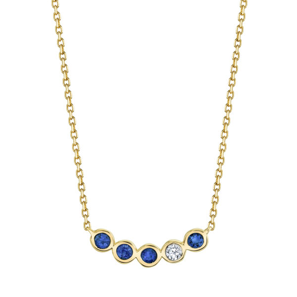 14kt Yellow Gold Natural Sapphire and Diamond Bezel Bar Necklace