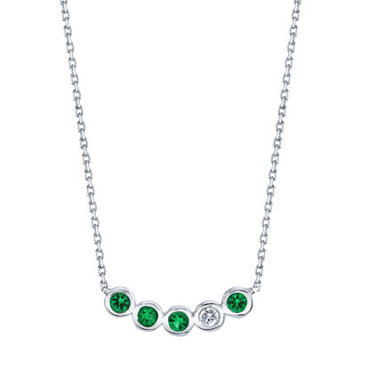 14kt White Gold Natural Emerald and Diamond Bezel Bar Necklace