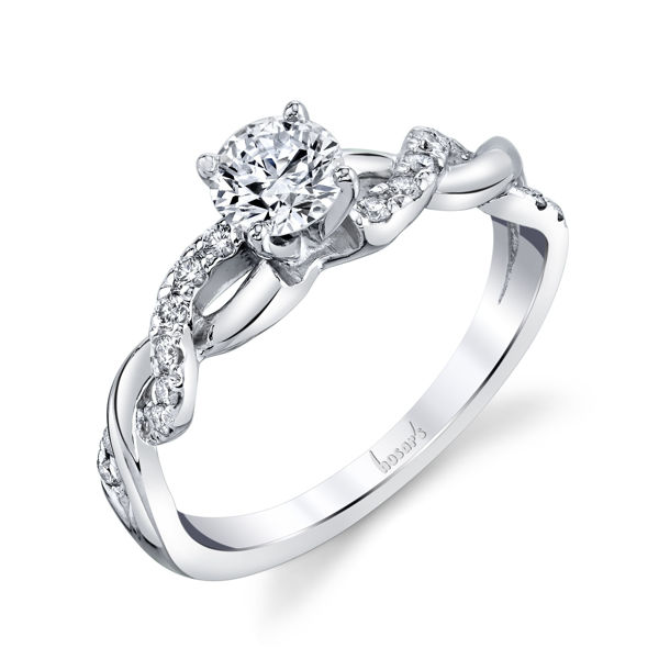 14kt White Gold Twisted Diamond Engagement Ring