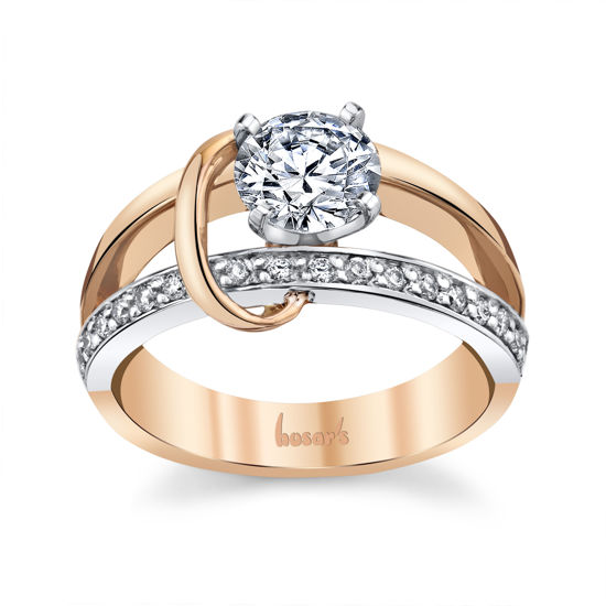 14kt Rose and White Gold Crossover Engagement Ring