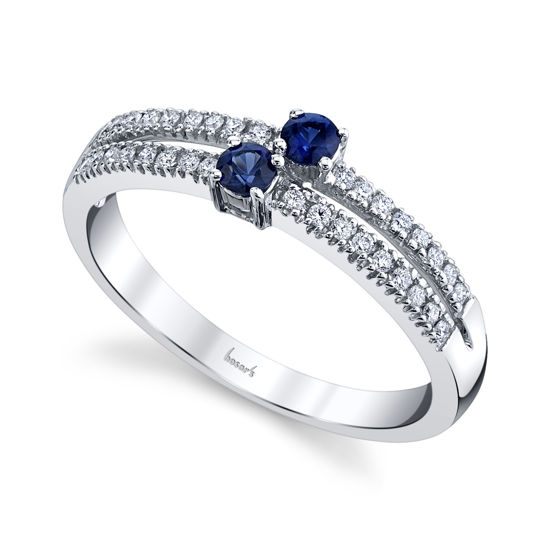 14kt White Gold Natural Sapphire and Diamond Two Stone Ring