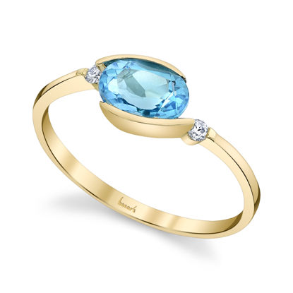 14kt Yellow Gold Bypass Style Blue Topaz and Diamond Ring