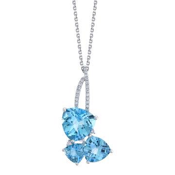 14kt White Gold Blue Topaz and Diamond Three Stone Pendant