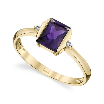 14kt Yellow Gold Emerald Cut Amethyst and Diamond Ring