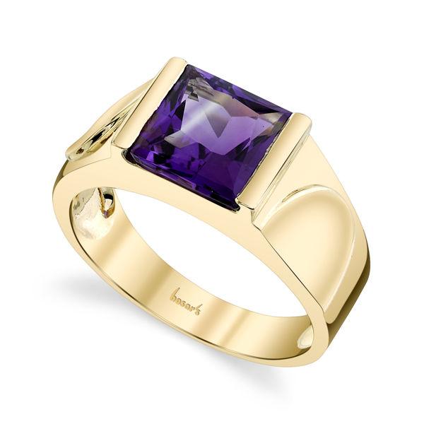 14kt Yellow Gold Princess Cut Amethyst Cathedral Ring