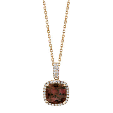 14kt Rose Gold Spice Zircon and Diamond Halo Pendant