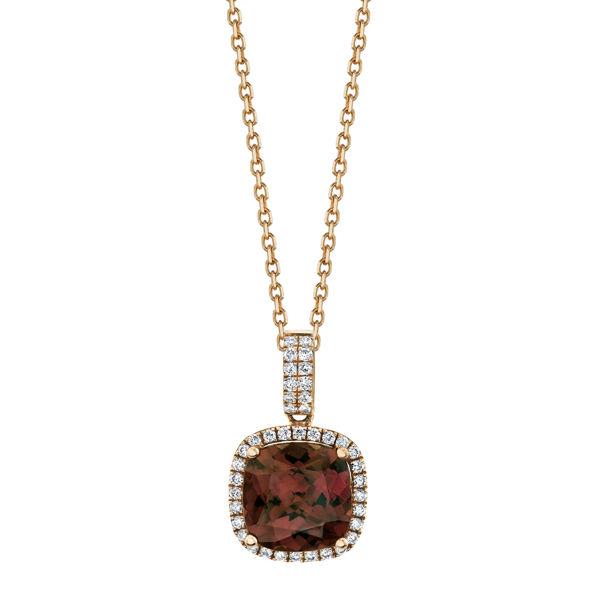 14kt Rose Gold Spice Zircon and Diamond Halo Pendant