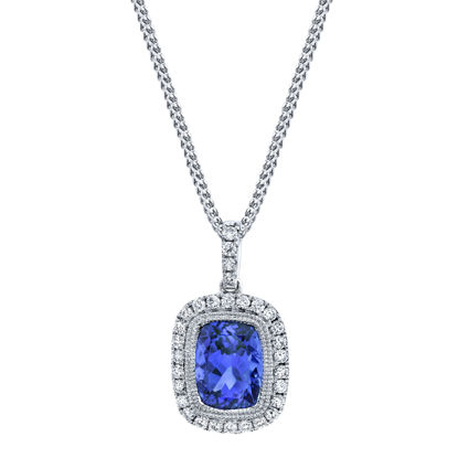14kt White Gold Tanzanite and Diamond Halo Pendant
