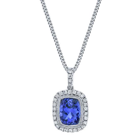 14kt White Gold Tanzanite and Diamond Halo Pendant