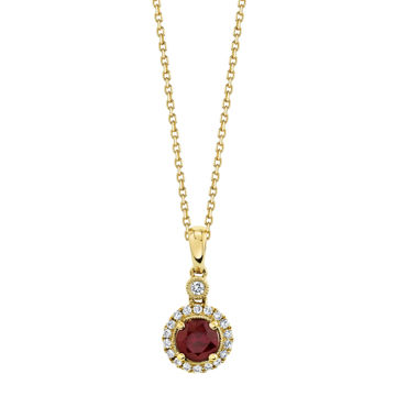 14kt Yellow Gold Natural Ruby and Diamond Halo Pendant