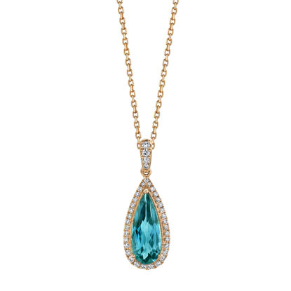 14kt Rose Gold London Blue Topaz and Diamond Halo Pendant