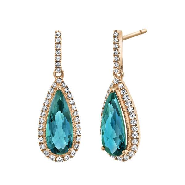 14kt Rose Gold London Blue Topaz and Diamond Halo Drop Earrings