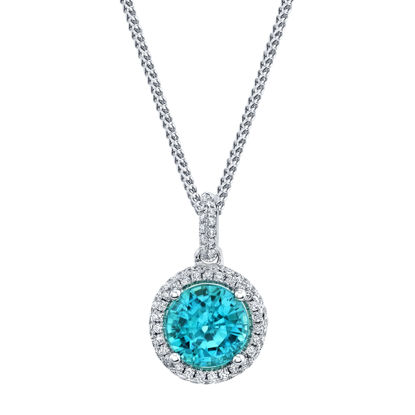 14kt White Gold Blue Zircon and Diamond Halo Pendant