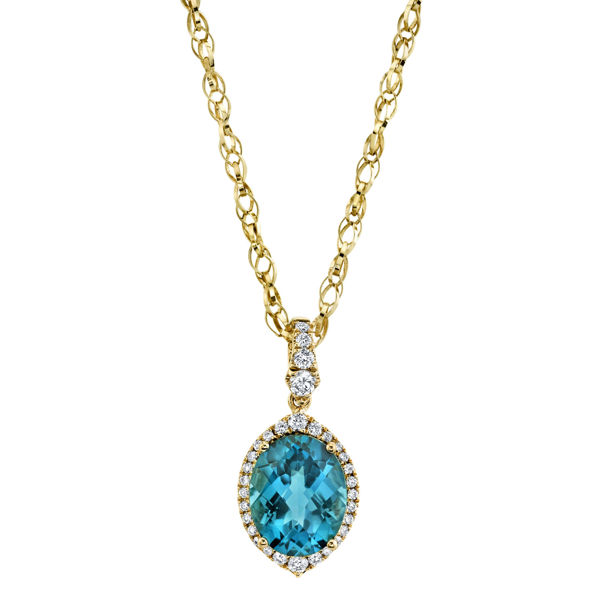 14kt Yellow Gold Oval London Blue Topaz and Diamond Halo Pendant