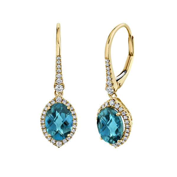 14kt Yellow Gold Oval London Blue Topaz and Diamond Halo Drop Earrings