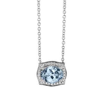 14kt White Gold Vintage Aquamarine and Diamond Halo Necklace