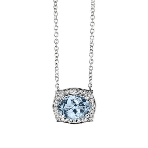 14kt White Gold Vintage Aquamarine and Diamond Halo Necklace