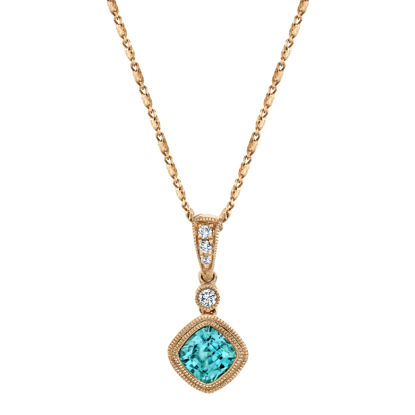 14kt Rose Gold Milgrained Bezel Set Blue Zircon and Diamond Pendant