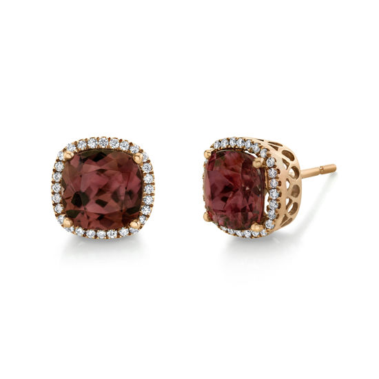 14kt Rose Gold Spice Zircon and Diamond Halo Stud Earrings