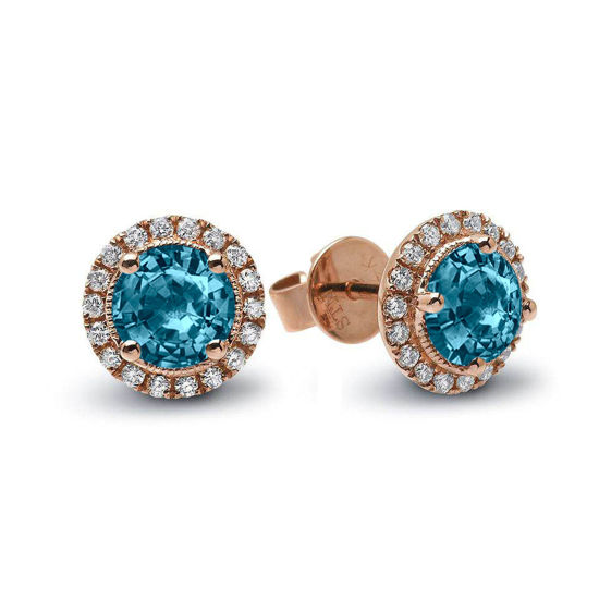 14kt Rose Gold Round Blue Zircon and Diamond Halo Stud Earrings