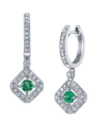14kt White Gold Vintage Inspired Natural Emerald and Diamond Dangling Earrings
