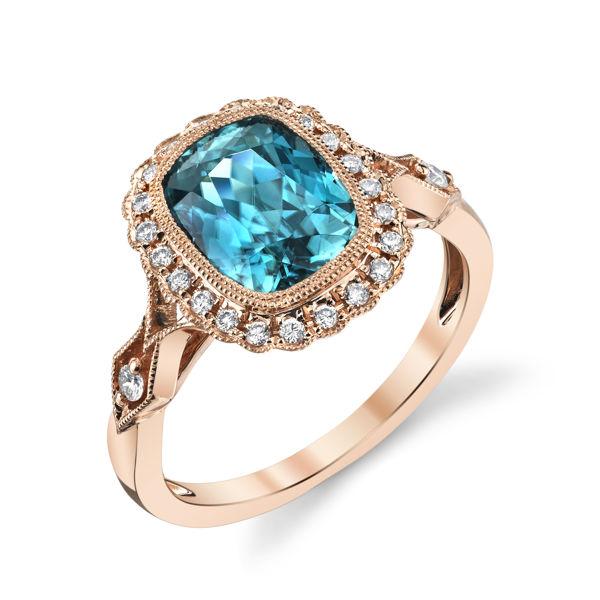14kt Rose Gold Bezel Set Cushion Cut Blue Zircon and Diamond Halo Ring