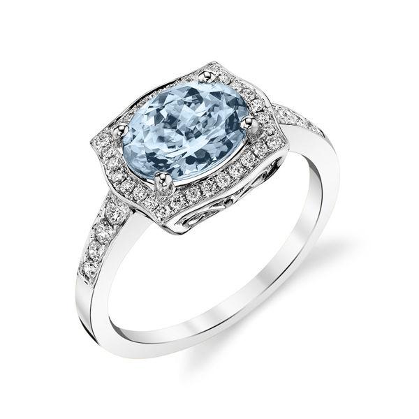 14kt White Gold Vintage Aquamarine and Diamond Halo Ring