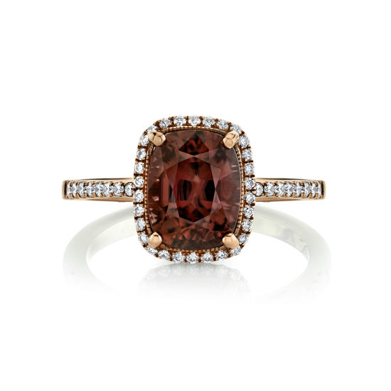 14kt Rose Gold Spice Zircon and Diamond Halo Ring