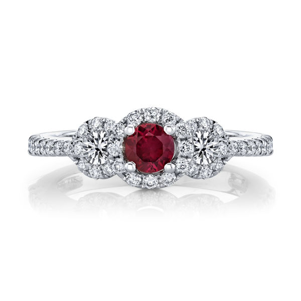 14kt White Gold Natural Ruby and Diamond Three Stone Halo Ring