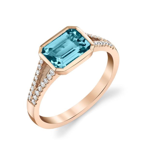 14kt Rose Gold Bezel Set East West Cushion Shaped Blue Zircon and Diamond Ring