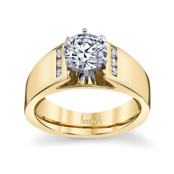 14kt Yellow Gold Bold Cathedral Style Diamond Engagement Ring