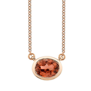 14kt Rose Gold Stationary Bezel Set Oval Golden Tourmaline Necklace