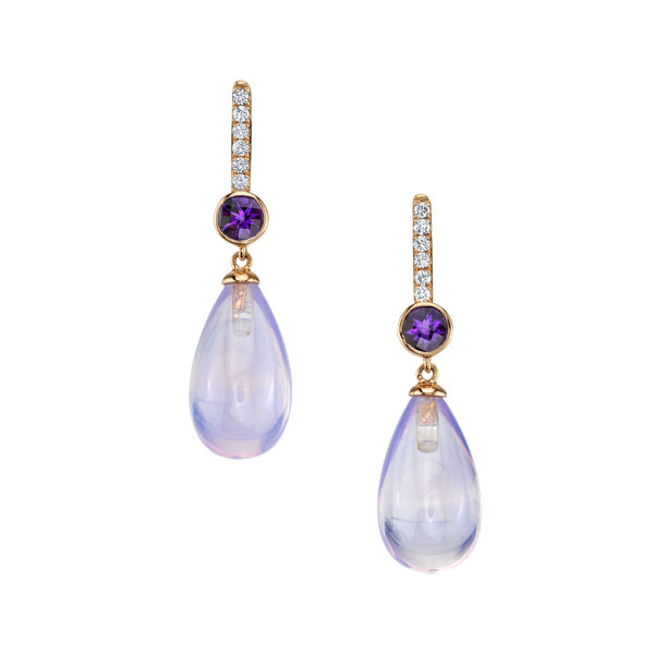 14kt Rose Gold Amethyst and Diamond Briolette Drop Earrings