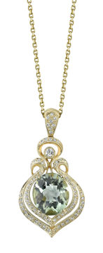 14kt Yellow Gold Prasiolite and Diamond Leaf Inspired Pendant