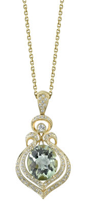 14kt Yellow Gold Prasiolite and Diamond Leaf Inspired Pendant