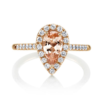 18kt Rose Gold Pear Shaped Morganite and Diamond Halo Ring