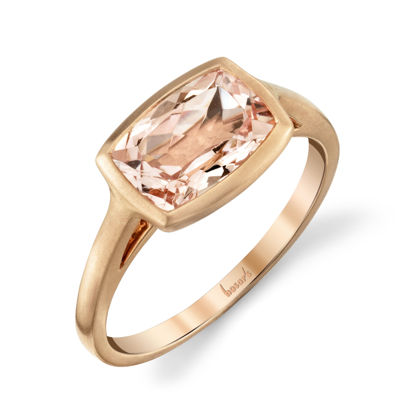 18kt Rose Gold Satin Finish Bezel Set Rectangular Morganite Ring