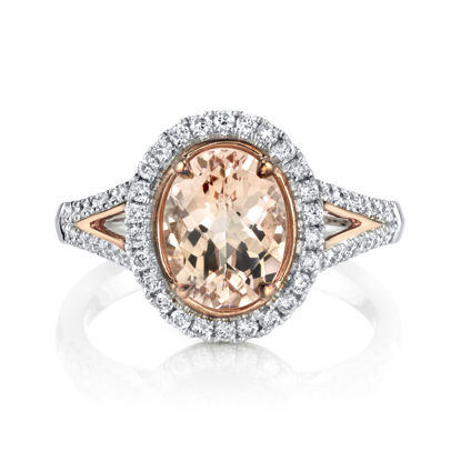 14kt Rose and White Gold Oval Morganite and Diamond Halo Ring with Split Shank