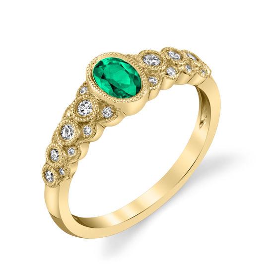 14kt Yellow Gold Bezel Set Emerald and Diamond Ring