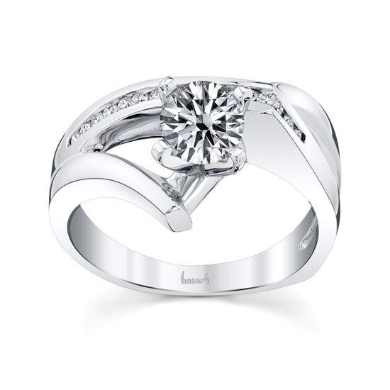 14kt White Gold Freeform Channel Set Diamond Engagement Ring