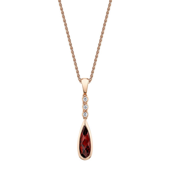 14kt Rose Gold Pear Shape Pyrope Garnet and Diamond Pendant