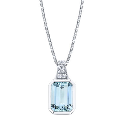 14kt White Gold Bezel Set Emerald Cut Aquamarine and Diamond Pendant