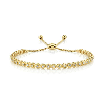 14kt Yellow Gold Rope Detailed Diamond Bolo Bracelet
