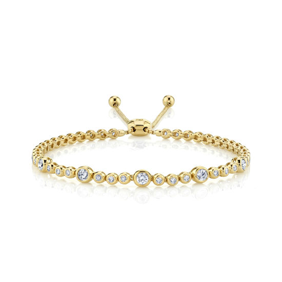 14kt Yellow Gold Bezel Set Diamond Bubble Bolo Bracelet