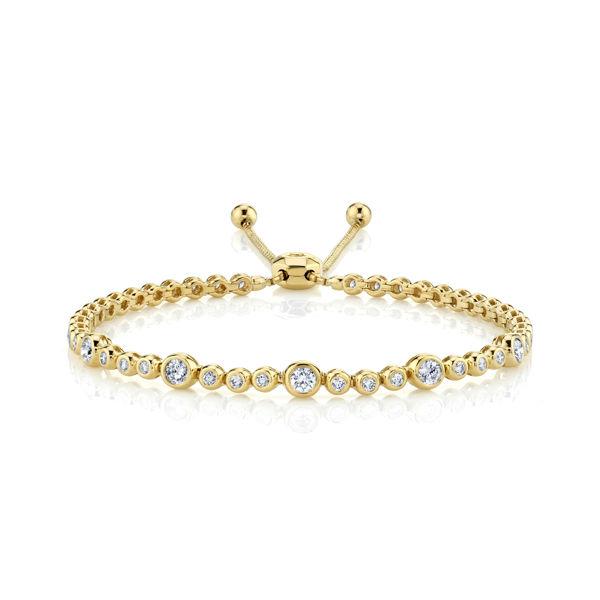 14kt Yellow Gold Bezel Set Diamond Bubble Bolo Bracelet